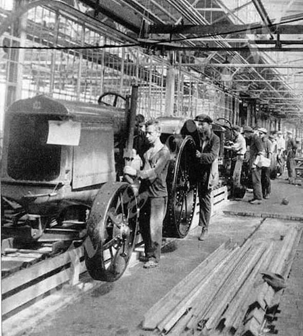 "Assembly line at ""Tractor factory"" before the war."