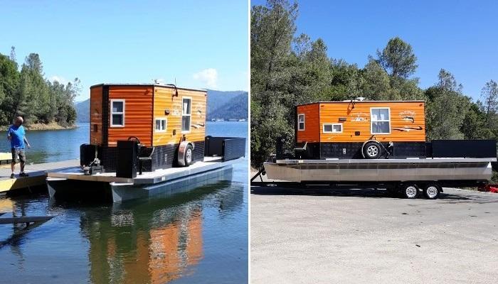 Счастье - это свобода. Американец построил мобильный дом, в котором можно путешествовать и по суше, и по воде