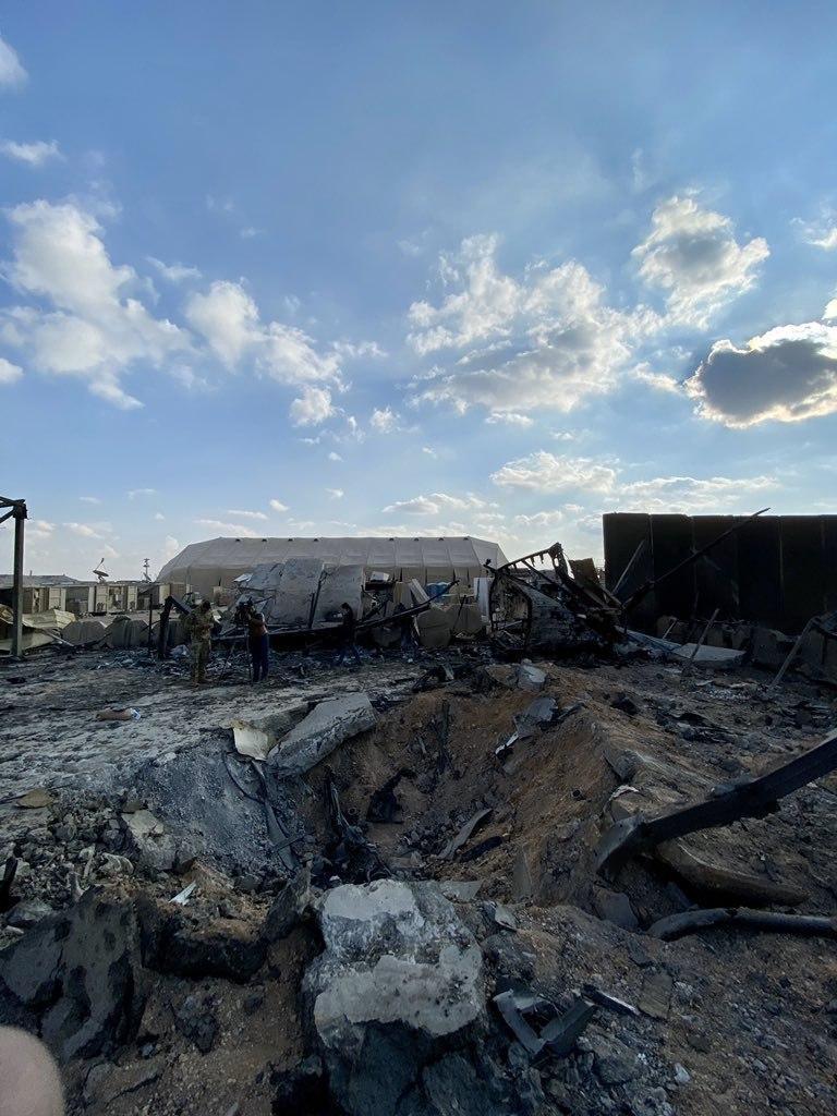 Последствия удара Ирана по военной базе США в Ираке (видео)